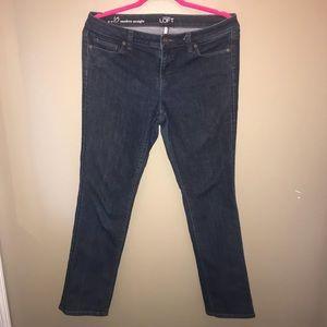 LOFT Modern Straight Dark Wash Jeans
